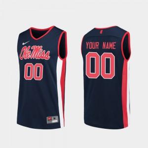 College Basketball #00 Rebels Custom Jersey Men Replica Navy University 502436-663