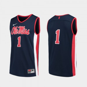 Ole Miss Jersey Official College Basketball Navy #1 For Men Replica 122218-335