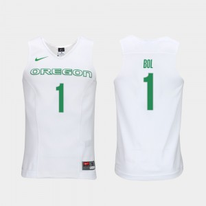 Authentic Performace White Oregon Ducks Bol Bol Jersey For Men Elite Authentic Performance College Basketball #1 Embroidery 115969-428