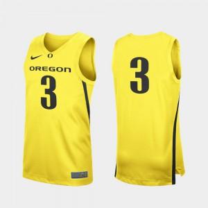 Player College Basketball Oregon Duck Jersey Replica Yellow #3 Men 268035-349