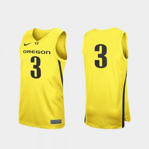 College Basketball Replica For Men Oregon Duck Jersey #3 Yellow University 196638-438