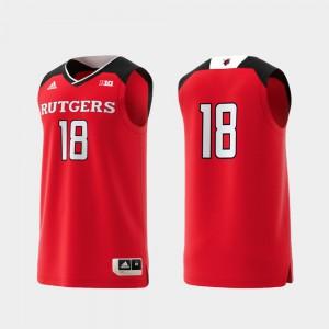 Men's Player Basketball Swingman #18 College Replica Scarlet Rutgers Jersey 491851-250