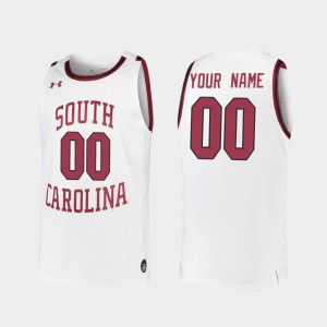 Embroidery White #00 2019-20 College Basketball Men's Replica USC Gamecocks Customized Jersey 869480-412
