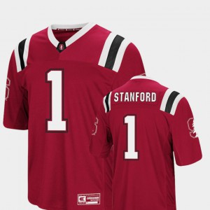 For Men's Foos-Ball Football Cardinal Colosseum Embroidery #1 Stanford Jersey 650295-764