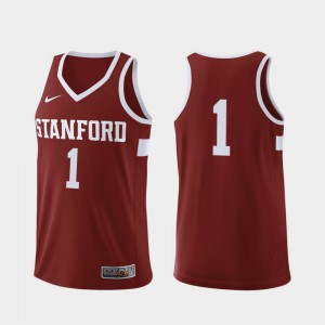 Stitched #1 Stanford Jersey Mens Replica College Basketball Cardinal 790722-448
