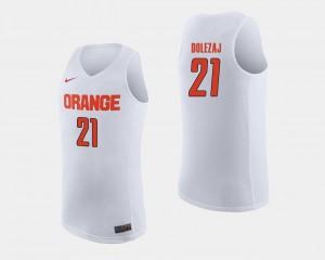 White For Men's College Basketball #21 NCAA Syracuse University Marek Dolezaj Jersey 931734-751