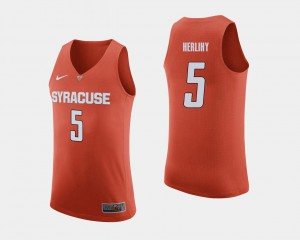 Mens Syracuse University Patrick Herlihy Jersey College Basketball Player Orange #5 890945-924