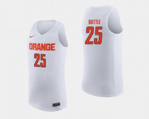 #25 White College Basketball Embroidery Mens Cuse Orange Tyus Battle Jersey 459965-683