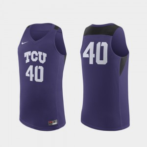For Men Texas Christian University Jersey Alumni #40 Purple Replica College Basketball 648530-374