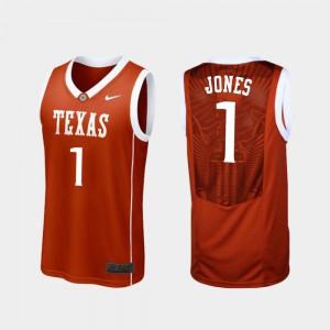 Stitched Burnt Orange #1 Texas Longhorns Andrew Jones Jersey For Men Replica College Basketball 353973-437