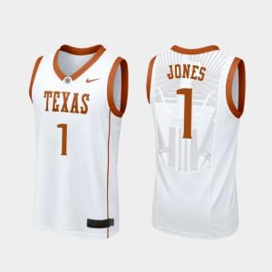 Longhorns Andrew Jones Jersey #1 Mens College Basketball University Replica White 257713-322