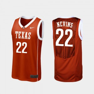 College Basketball #22 Texas Longhorns Blake Nevins Jersey For Men's Replica Burnt Orange College 557720-259