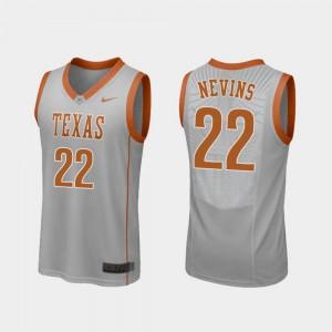 Gray College Basketball Texas Longhorns Blake Nevins Jersey Replica #22 College Mens 897446-436