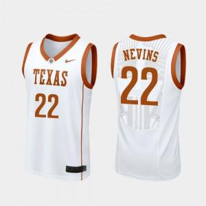 Men UT Blake Nevins Jersey Player #22 White Replica College Basketball 350903-918