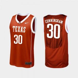 College Basketball Burnt Orange Replica Texas Longhorns Brock Cunningham Jersey Official #30 For Men's 641086-171