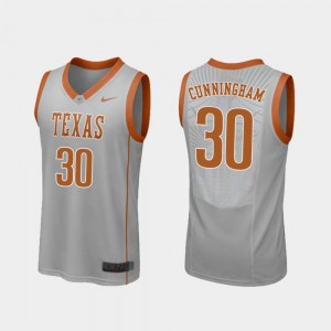 Gray #30 Men University of Texas Brock Cunningham Jersey College Replica College Basketball 499939-258