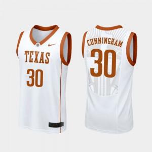 Longhorns Brock Cunningham Jersey University College Basketball White #30 Men Replica 912735-757