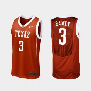 College Basketball UT Courtney Ramey Jersey Mens Replica Official Burnt Orange #3 546445-146
