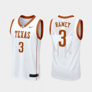 White Replica For Men's #3 College Basketball Texas Longhorns Courtney Ramey Jersey Embroidery 356316-554
