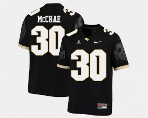 For Men High School American Athletic Conference College Football Black #30 UCF Knights Greg McCrae Jersey 526716-618