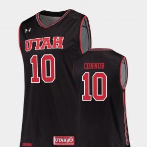 University of Utah Jake Connor Jersey #10 Replica Black For Men's Alumni College Basketball 613461-325