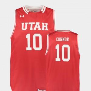 College Basketball University of Utah Jake Connor Jersey Red Replica University For Men #10 354741-263