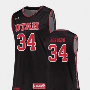 Black Stitched Replica #34 Men College Basketball Utah Jayce Johnson Jersey 940907-410