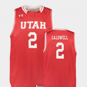 #2 Player Utes Kolbe Caldwell Jersey Men's Replica College Basketball Red 366290-456