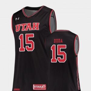 Utah Nate Duda Jersey Stitch #15 For Men Replica Black College Basketball 611205-679