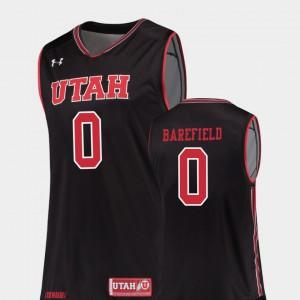 University of Utah Sedrick Barefield Jersey #0 Black Men Replica University College Basketball 360064-626