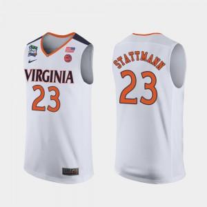 White For Men UVA Cavaliers Kody Stattmann Jersey #23 2019 Final-Four Stitch 460468-607