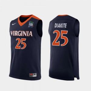 2019 Final-Four Player Navy UVA Cavaliers Mamadi Diakite Jersey #25 Replica For Men 154356-850