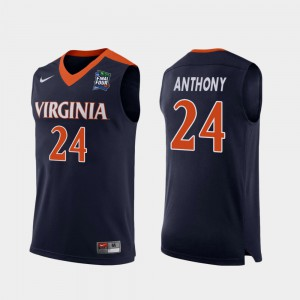 For Men's Stitched #24 Replica Navy Cavaliers Marco Anthony Jersey 2019 Final-Four 436337-916