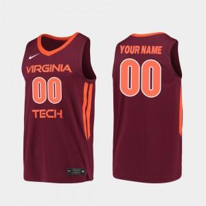 Maroon Embroidery Hokies Custom Jerseys 2019-20 College Basketball For Men Replica #00 548919-791