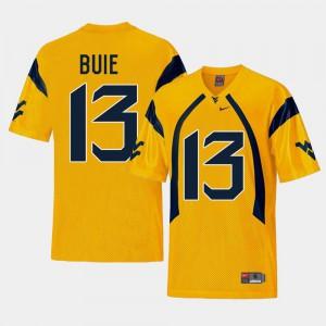 Replica #13 West Virginia University Andrew Buie Jersey Men College Football Gold Stitch 209041-160