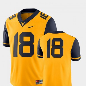 College Football 2018 Game Mens Gold West Virginia University Jersey #18 Embroidery 580476-218