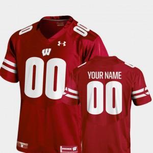 Men's 2018 TC #00 College Football Official Wisconsin Custom Jerseys Red 477192-598