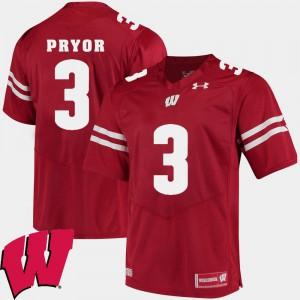 High School 2018 NCAA Red Wisconsin Badger Kendric Pryor Jersey #3 Alumni Football Game Men 498518-873