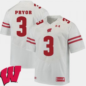 Men's University of Wisconsin Kendric Pryor Jersey University 2018 NCAA White #3 Alumni Football Game 220330-351