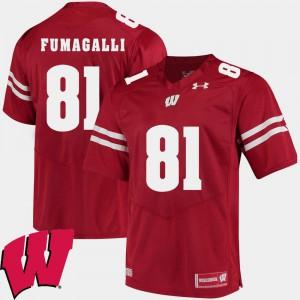 Red Men's #81 University of Wisconsin Troy Fumagalli Jersey NCAA Alumni Football Game 2018 NCAA 495395-137