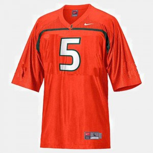 Official Orange #5 Miami Andre Johnson Jersey For Men College Football 232855-634
