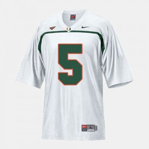 #5 Youth High School Miami Hurricane Andre Johnson Jersey White College Football 350732-475