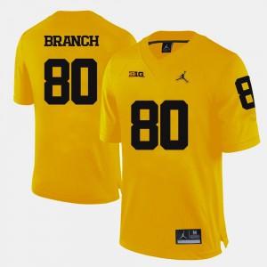 For Men College Football #80 High School University of Michigan Alan Branch Jersey Yellow 603968-399