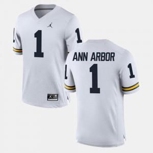 Alumni Mens Alumni Football Game White #1 Michigan Ann Arbor Jersey 164296-637