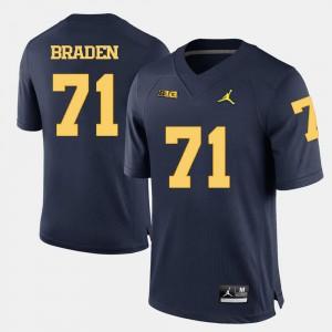 Men's College College Football #71 Navy Blue U of M Ben Braden Jersey 681533-985