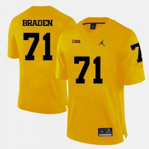 Yellow Alumni College Football #71 For Men U of M Ben Braden Jersey 335321-665
