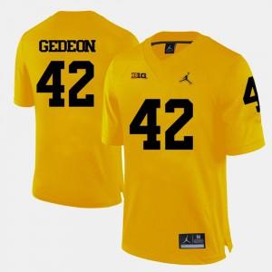 Yellow Stitch For Men's College Football Michigan Ben Gedeon Jersey #42 236239-509