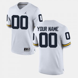 College Limited Football #00 Embroidery White Michigan Custom Jerseys Men 837202-127