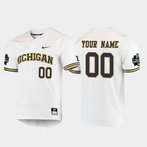 #00 Wolverines Customized Jerseys High School Men's White 2019 NCAA Baseball College World Series 592169-239