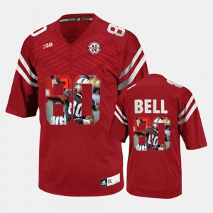 Embroidery #80 Nebraska Kenny Bell Jersey Men's Player Pictorial Red 479788-386
